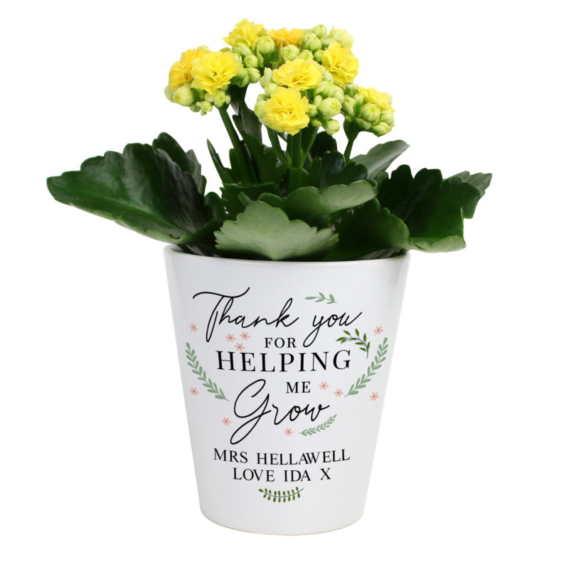 Personalised 'Thank You For Helping Me Grow' Plant Pot