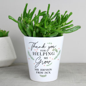 Personalised Thank You For Helping Me Grow Plant Pot Gift