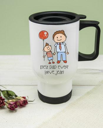 Personalised Best Dad Kid's Artwork Travel Mug