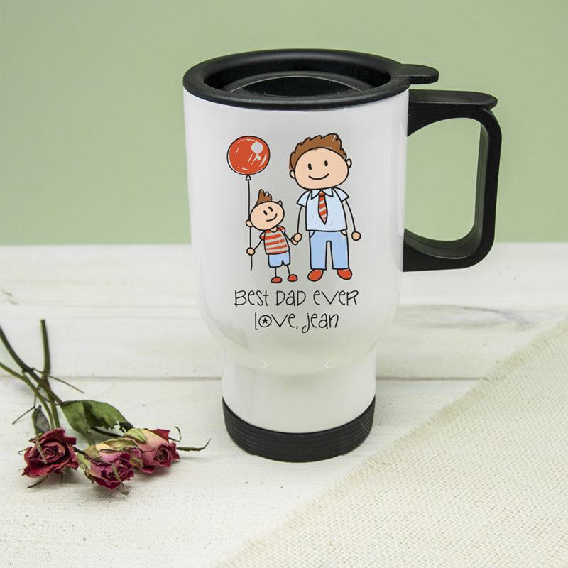 Personalised 'Best Dad Ever' Kid's Artwork Travel Mug