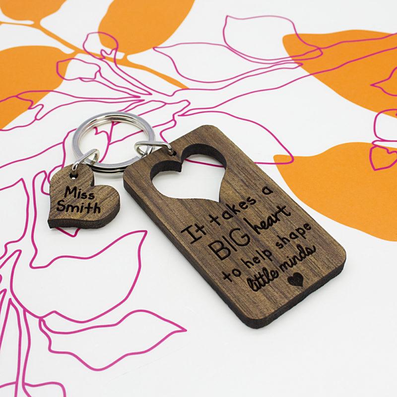 Personalised 'Big Heart, Little Minds' Teachers Wooden Keyring