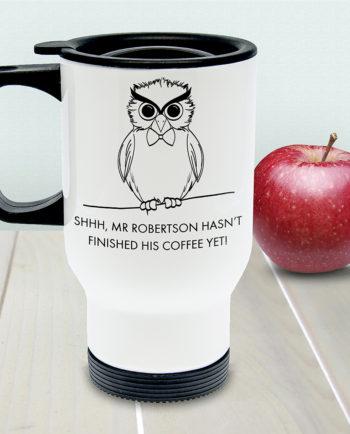Personalised Teacher's Shhh Owl Travel Mug