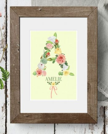 Personalised Floral Initial Watercolour Print
