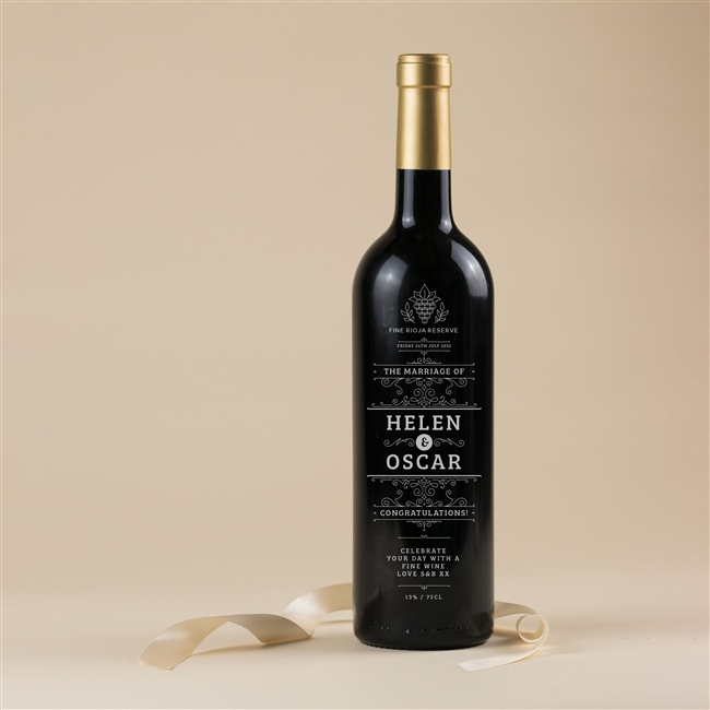 Personalised Engraved 'On Your Wedding Day' Wine
