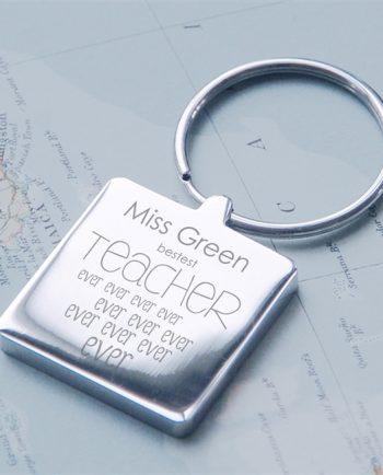 Personalised Bestest Teacher Ever Ever Square Keyring