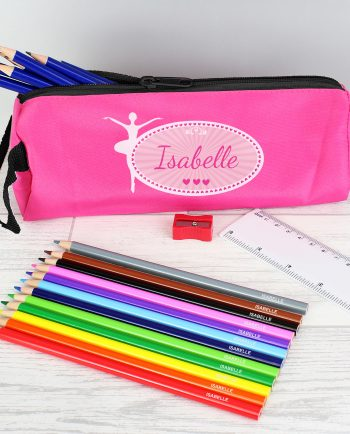 Personalised Pink Ballerina Pencil Case with Colouring Pencils