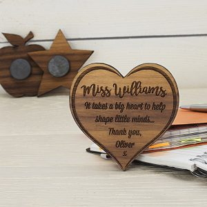 Sometimes a gift doesn't have to be a big gesture, sometimes the small gifts are the best, like this Personalised Teachers Big Heart Wooden Fridge Magnet.