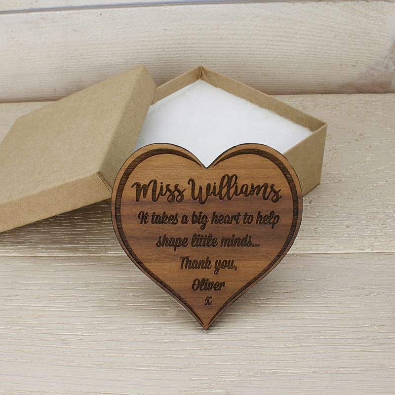 Personalised Teachers Big Heart Wooden Fridge Magnet