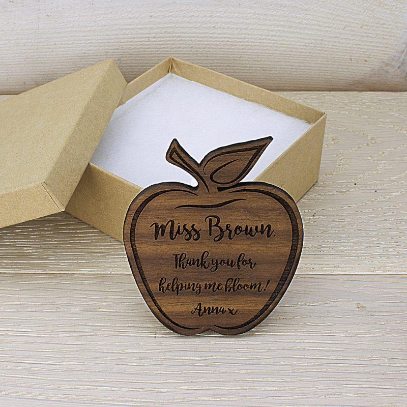 Personalised Teacher's Apple Shaped Wooden Fridge Magnet