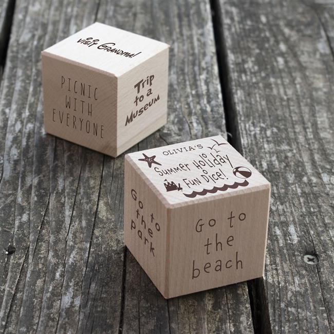 Personalised Summer Holiday Fun Wooden Dice