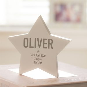 Personalised New Baby Modern Wooden Star