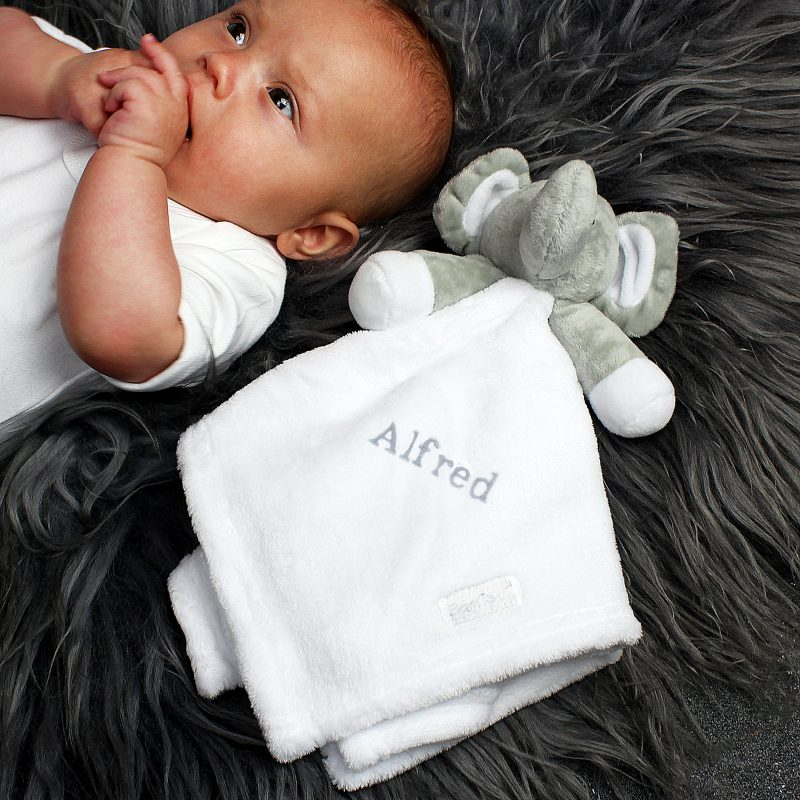 Personalised Grey Elephant and White Baby Comforter