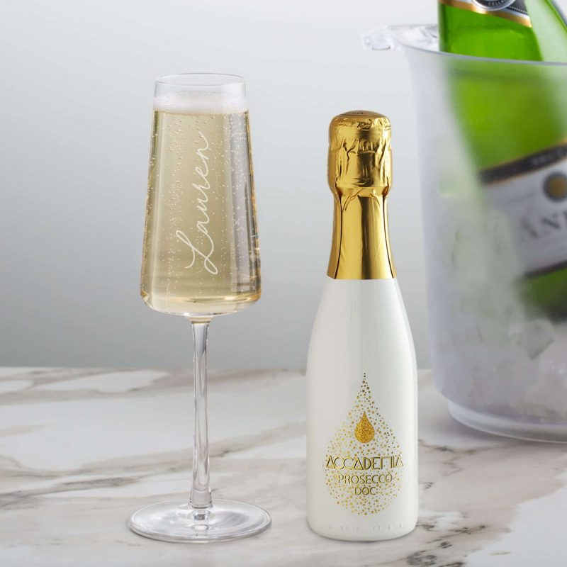20cl White Academia Prosecco & Personalised Flute Gift Set