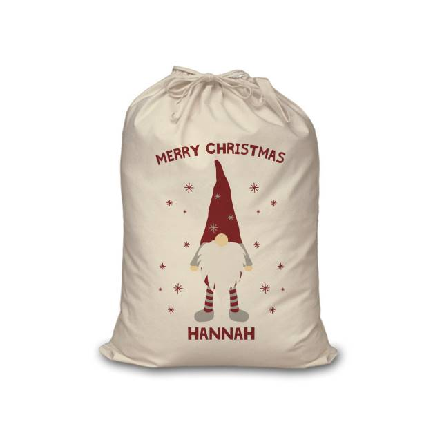 Personalised Christmas Gonk Cotton Sack