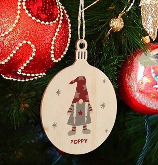Personalised Christmas Gonk Wooden Bauble