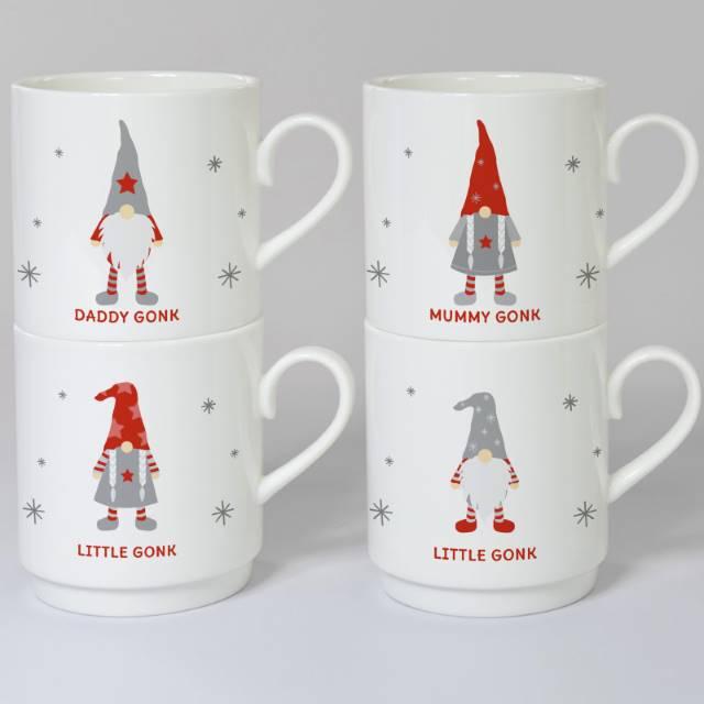Personalised Christmas Gonk Bone China Stacker Mug