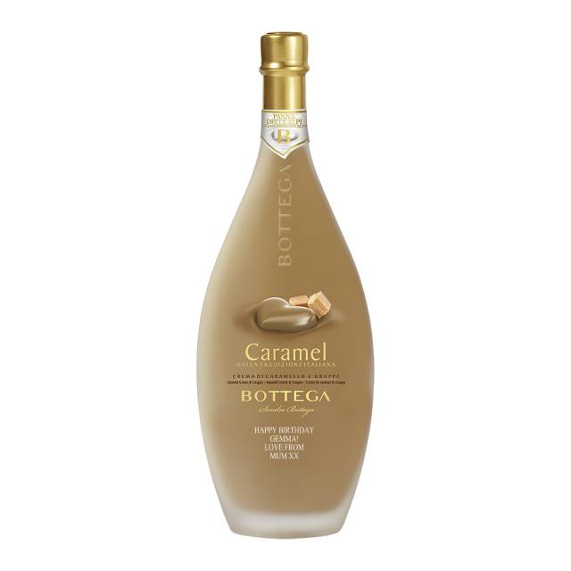 Personalised Bottle of Bottega Caramel Liqueur