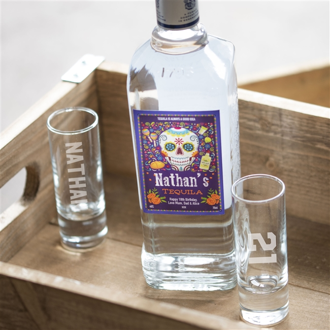 Personalised Day of The Dead Bottle of Tequila