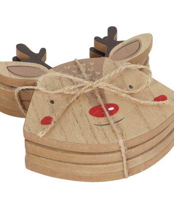 Set of 4 Wooden Reindeer Christmas Coasters