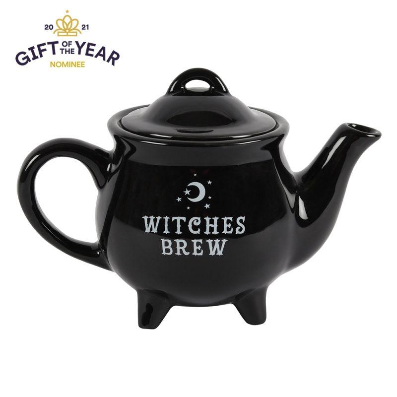 Witches Brew Black Cauldron Ceramic Teapot