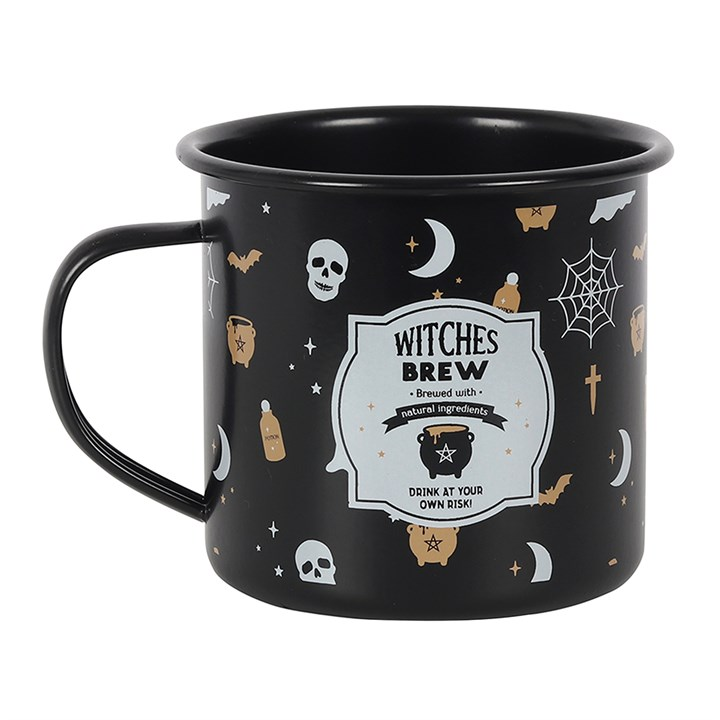 Witches Brew Black Enamel Mug
