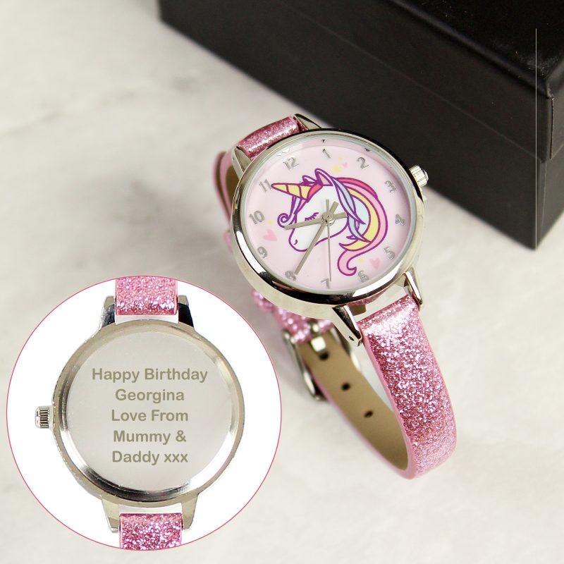 Personalised Girls Pink Glitter Unicorn Watch