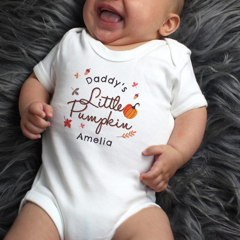 Personalised Little Pumpkin Baby Vest