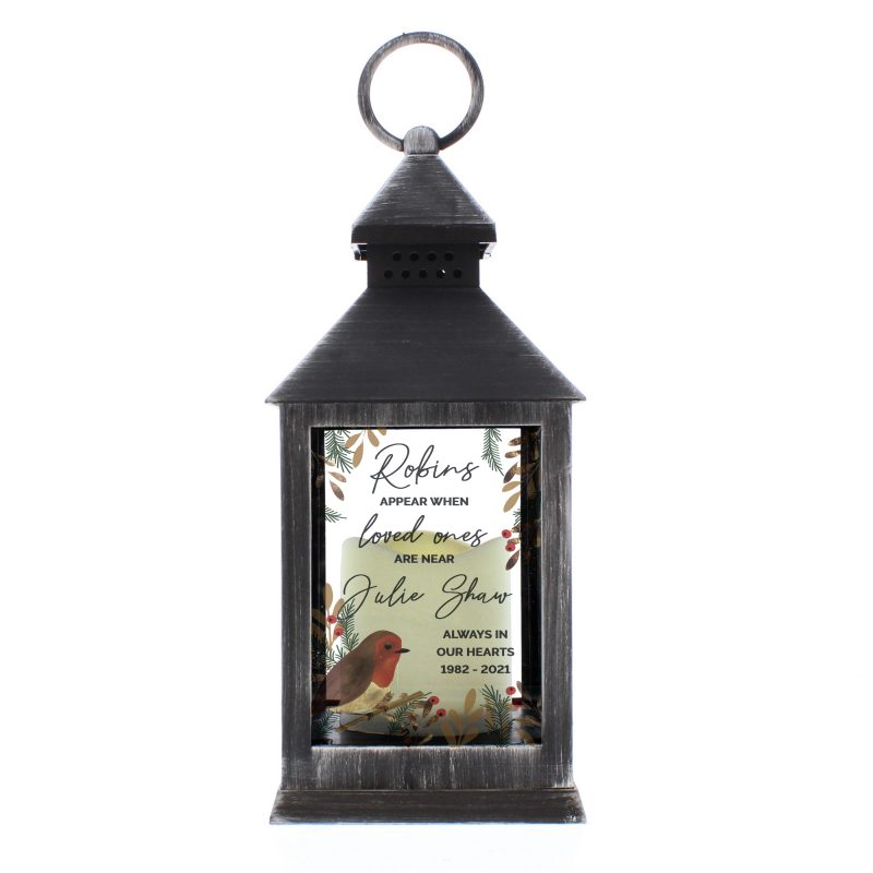 Personalised 'Robins Appear..' Memorial Black Lantern