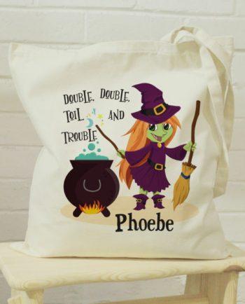 Personalised Toil & Trouble Halloween Tote Bag