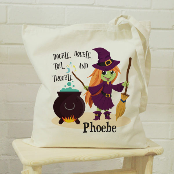 Personalised 'Toil & Trouble' Halloween Witch Tote Bag