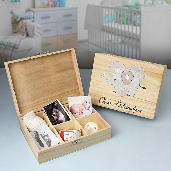 Personalised Baby Boys Wooden Keepsake Box