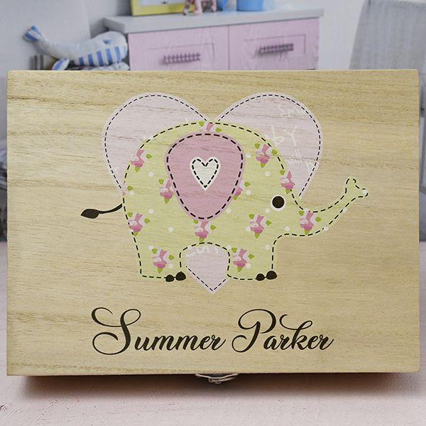 Personalised Baby Girls Wooden Keepsake Box