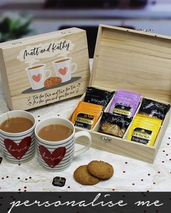 Personalised Tea for Two Tea and Biscuits 6 Compartment Storage Box