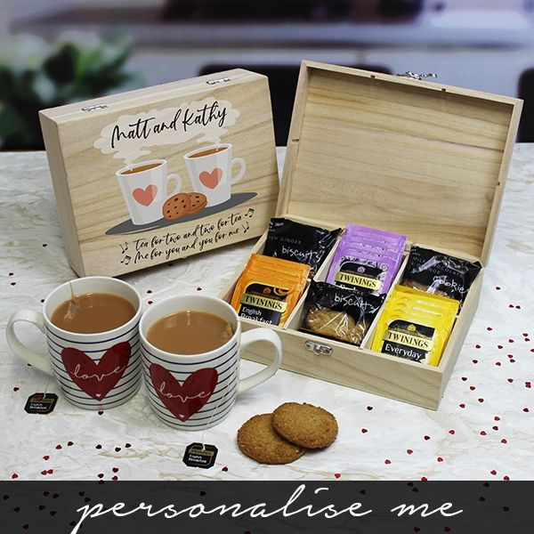Personalised 'Tea for Two' Tea and Biscuits 6 Compartment Storage Box