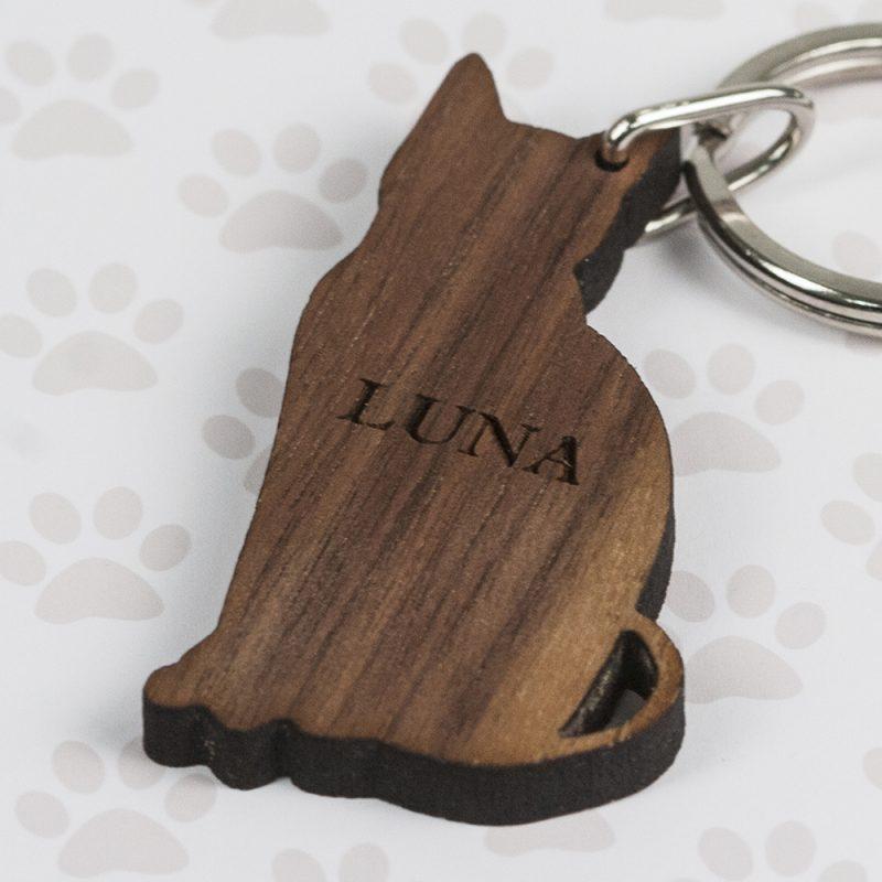 Personalised Walnut Wood Cat Shaped Keyring
