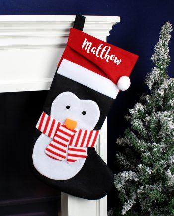 Personalised Cute Penguin Christmas Stocking