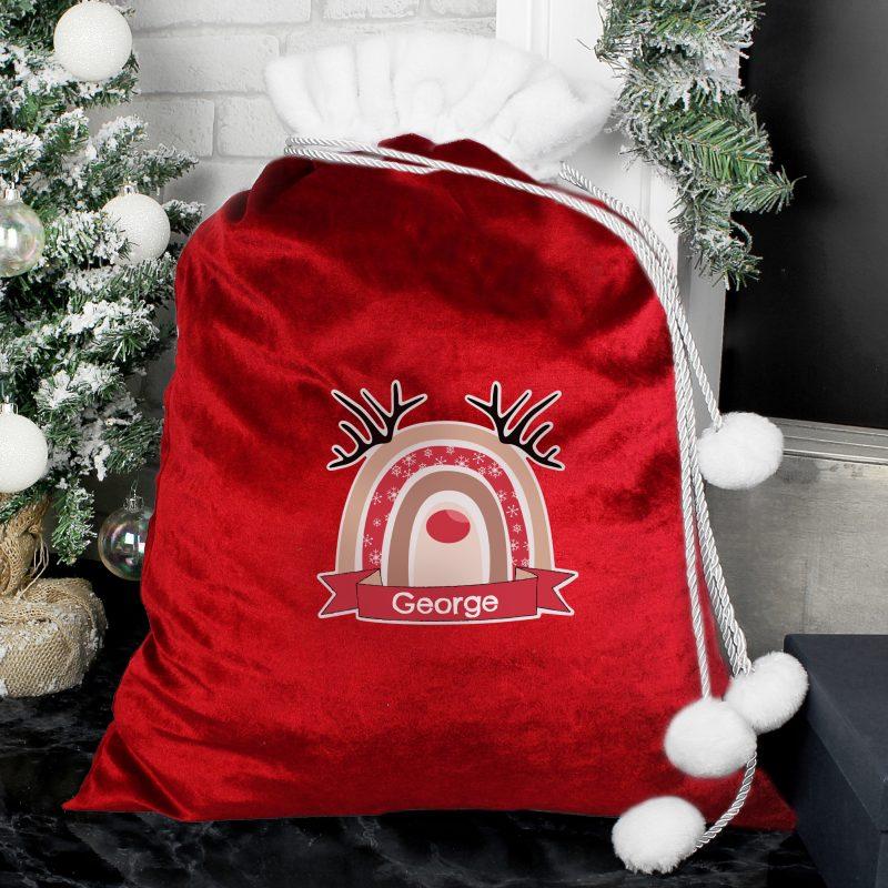 Personalised Rainbow Reindeer Red Christmas Sack