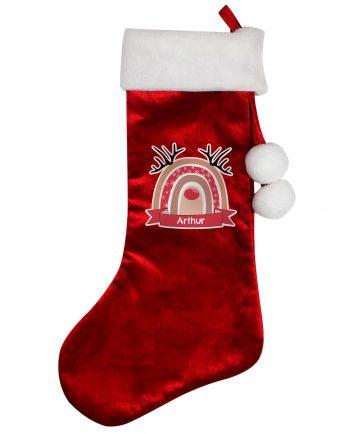 Personalised Rainbow Reindeer Red Christmas Stocking