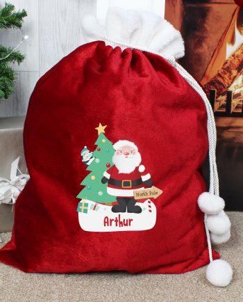 Personalised Santa Red Christmas Sack